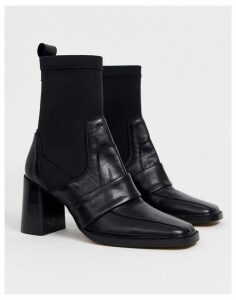 ASOS DESIGN Rhodes premium leather loafer sock boots in black