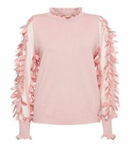 Blue Vanilla Mid Pink Leaf Mesh Sleeve Jumper New Look