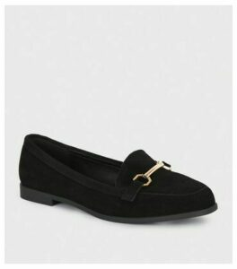 Wide Fit Black Suede Loafers New Look