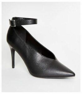 Black Faux Snake Stiletto Heels New Look