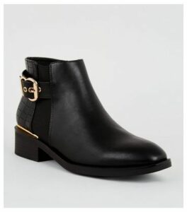 Black Faux Croc Panel Ankle Boots New Look