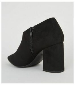 Black Suedette Pointed Block Shoe Boots New Look