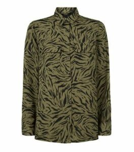 Green Tiger Print Long Sleeve Shirt New Look