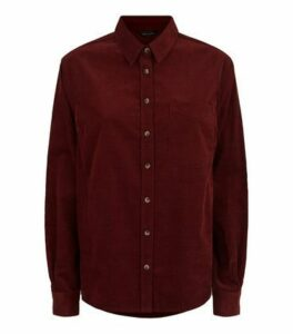 Burgundy Corduroy Long Sleeve Shirt New Look