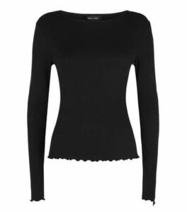 Black Ribbed Frill Trim Long Sleeve T-Shirt New Look