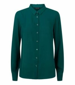 Dark Green Chiffon Long Sleeve Shirt New Look