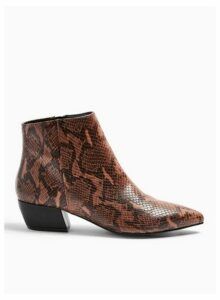 Womens Betty Brown Flat Point Ankle Boots, BROWN