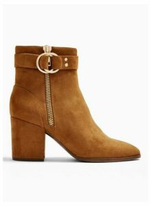 Womens Bea Tan Buckle Ankle Boots, TAN