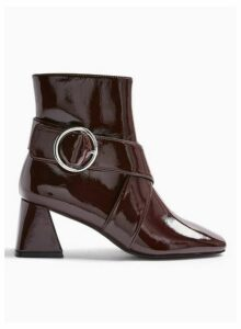 Womens Babe Burgundy Square Toe Buckle Boots, BURGUNDY