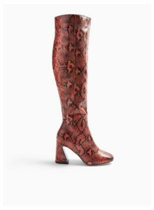 Womens Red Oval Snake Print Flared Heel Over The Knee Boots, RED