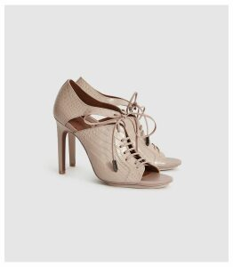 Reiss Mila - Leather Lace Up Heeled Shoes in Truffle, Womens, Size 8
