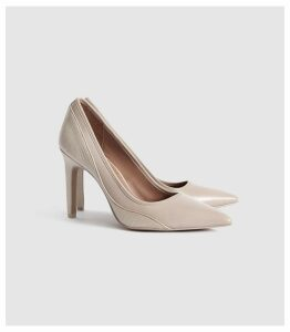Reiss Maddy - Snake Detailed Leather Court Shoes in Truffle, Womens, Size 8