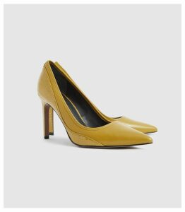 Reiss Maddy - Snake Detailed Leather Court Shoes in Chartreuse, Womens, Size 8