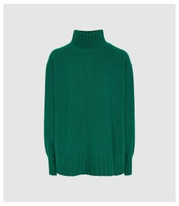 Reiss Bonnie - Wool Cashmere Blend Rollneck Jumper in Green, Womens, Size XXL