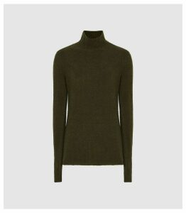 Reiss Jamie - Boucle Rollneck Jumper in Khaki, Womens, Size XXL