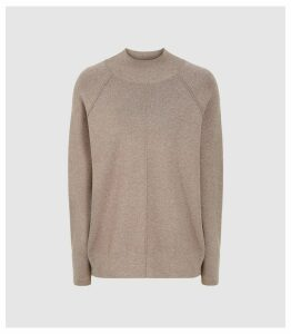 Reiss Andrea - Knitted Funnel Neck Sweater in Brown, Womens, Size XXL