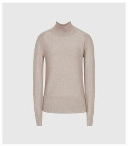 Reiss Jemima - Metallic Roll Neck Jumper in Soft Pink, Womens, Size XXL