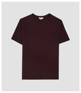 Reiss Walbrook - Textured Crew Neck T-shirt in Bordeaux, Mens, Size XXL