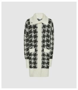 Reiss Eleni - Dogtooth Checked Cardigan in Black/ White, Womens, Size XXL