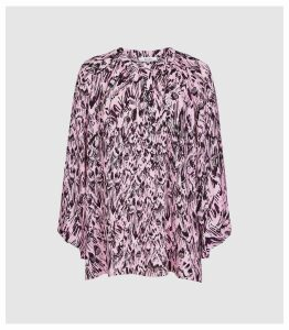 Reiss Gwen Print - Gather Detailed Blouse in Pink, Womens, Size 16