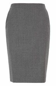 Melange pencil skirt in stretch flannel