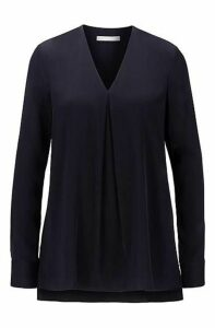 Long-sleeved V-neck blouse in stretch-silk crepe de chine