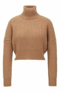 Cropped structured-knit sweater in wool with high neckline