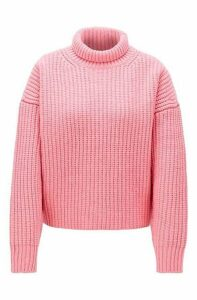 High-neck sweater in virgin wool with cashmere