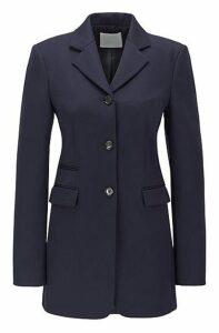 Long-length slim-fit jacket in virgin wool