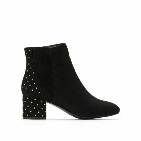 Faux Suede Chelsea Ankle Boots with Studded Back