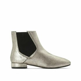 Metallic Leather Chelsea Ankle Boots