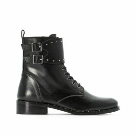Lace Up Leather Boots with Strap Detail