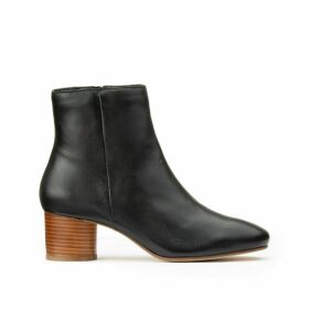 Leather Ankle Boots with Wood Effect Block Heel