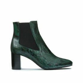 Damocle Leather Chelsea Ankle Boots in Faux Snakeskin with Heel