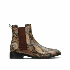 Leather Chelsea Boots in Snake Print