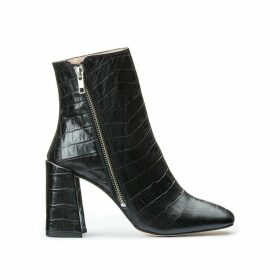 Crocodile Print Leather Heeled Boots