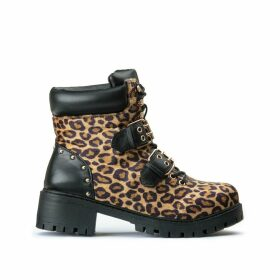 Luisa Chunky Buckled Boots in Leopard Print