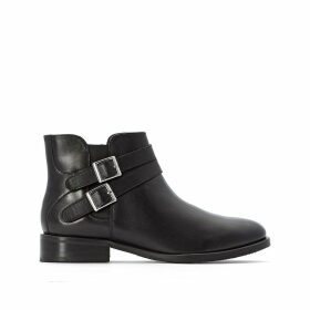 Zipped Leather Ankle Boots with Side Straps