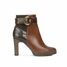 Annya Leather Ankle Boots with High Heel and Faux Snakeskin
