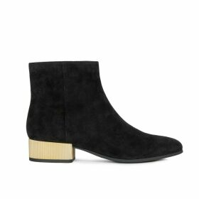 Peython Suede Ankle Boots with Metallic Block Heel