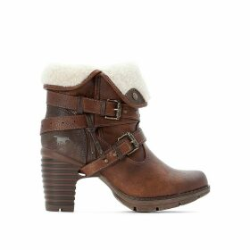 Fur-Lined Ankle Boots with Buckles