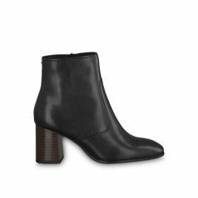 Solo Leather Ankle Boots with Block Heel