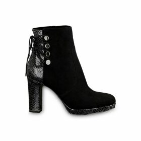 Lucinda Heeled Ankle Boots in Faux Snakeskin
