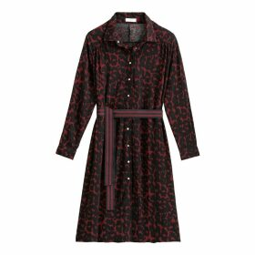 Leopard Print Midi Shirt Dress with Tie-Waist