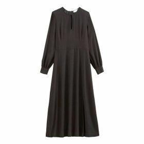 Plain Flared Midi Dress with Long Sleeves