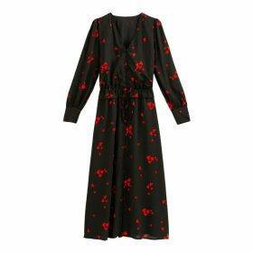 Heart Print Midi Dress with Long Sleeves