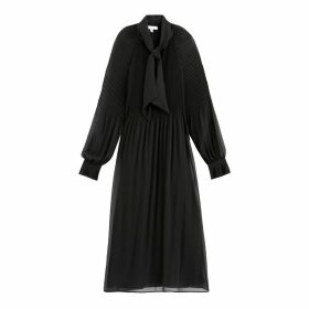 Pleated Midi Dress with Pussy-Bow and Long Sleeves