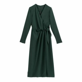 Wrapover Midi Dress with Long Sleeves