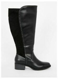 Extra Wide Fit Black Studded Knee High Boots, Black