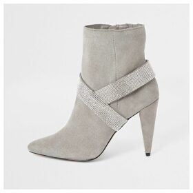 River Island Womens Grey suede embellished strap heeled boots